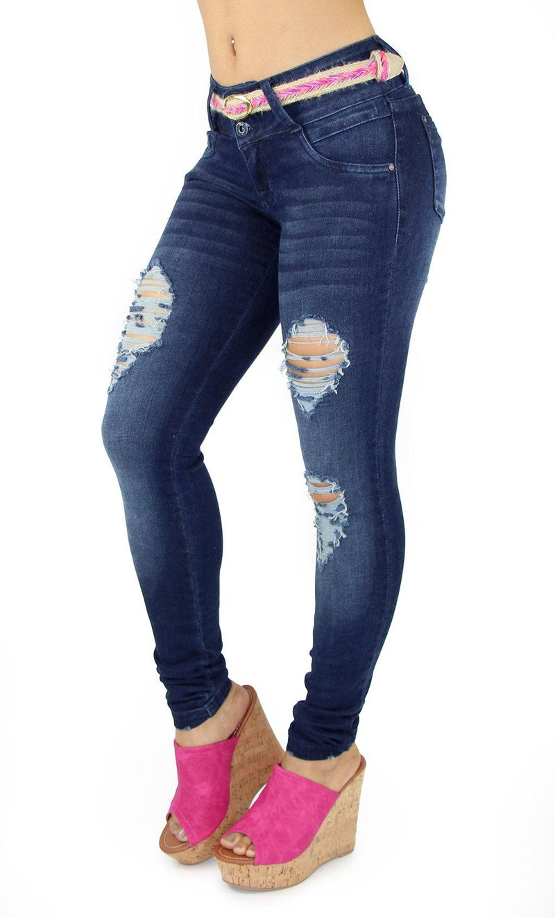 18086 Maripily Women's Butt Lifting Destroyed Skinny Jean