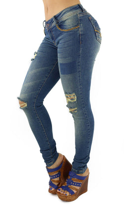 18181 Maripily Women's Destroyed Skinny Jean