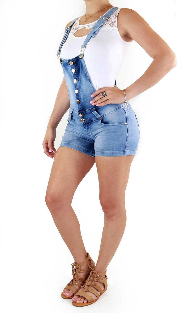 18893 Denim Short Romper Maripily Rivera