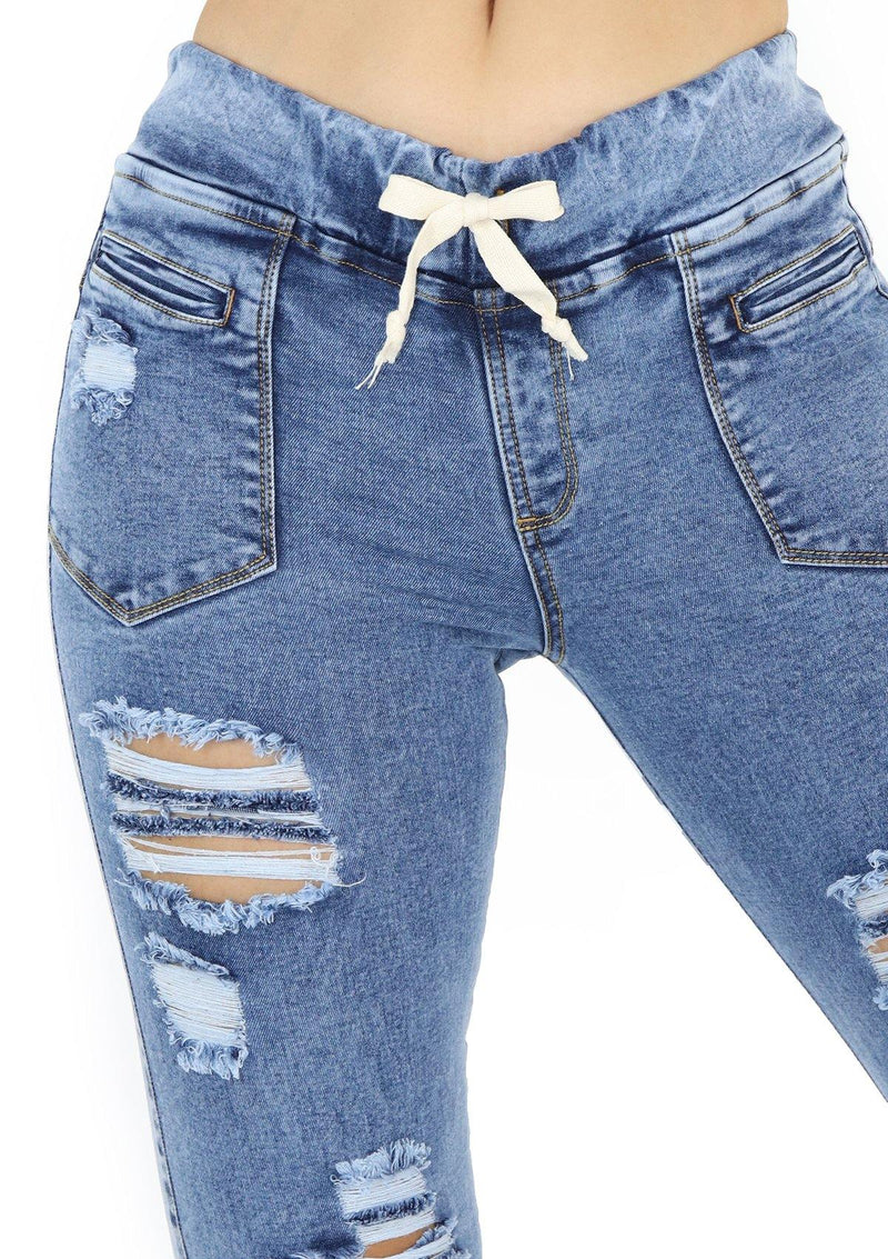 19975 Destroyed Jogger Jean by Maripily Rivera - Pompis Stores