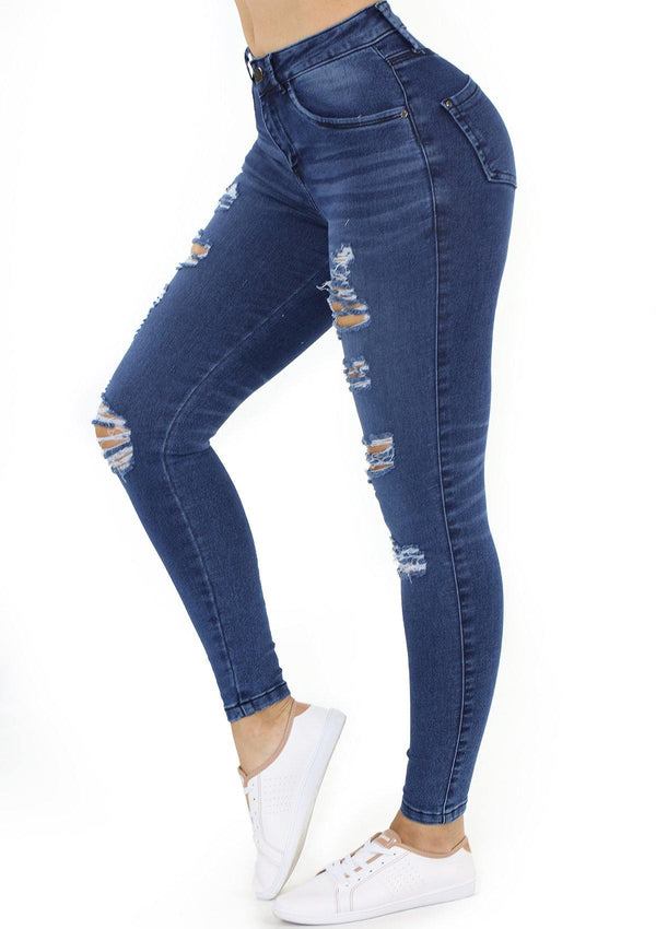 1509 Destroyed Scarcha Women Skinny Jean (Curvy Bajo) Tobillero - Pompis Stores