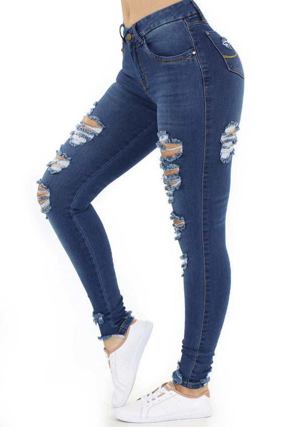 1519 Destroyed Scarcha Women Skinny Jean (Curvy Bajo) - Pompis Stores