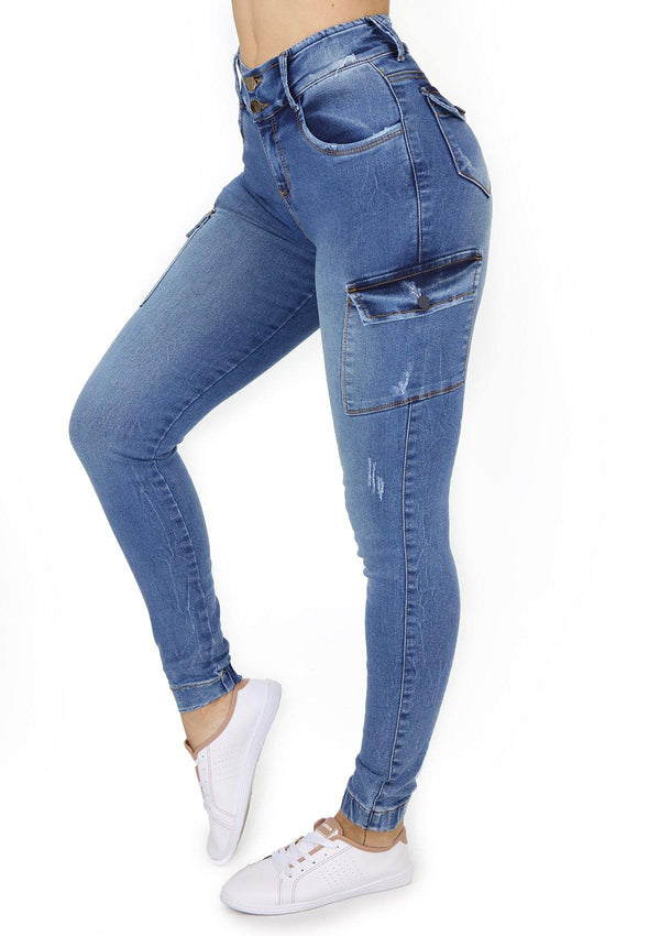 1527  Scarcha Women Cargo Jeans - Pompis Stores