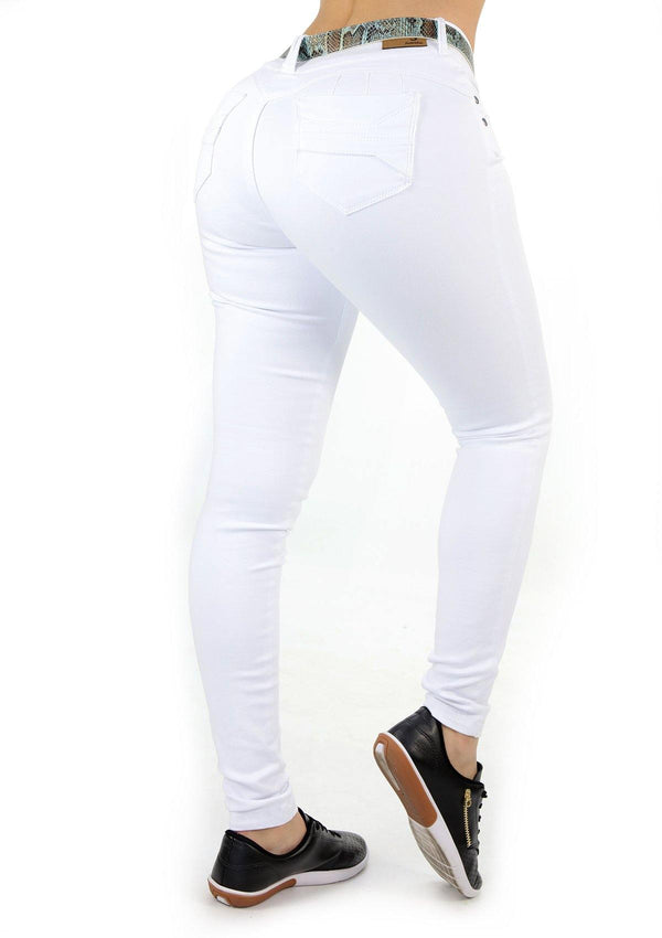 1535 White Scarcha Women Skinny Jean (Long) - Pompis Stores
