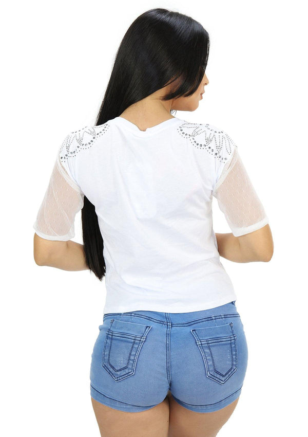 SC5219 White Blusa de Mujer by Scarcha