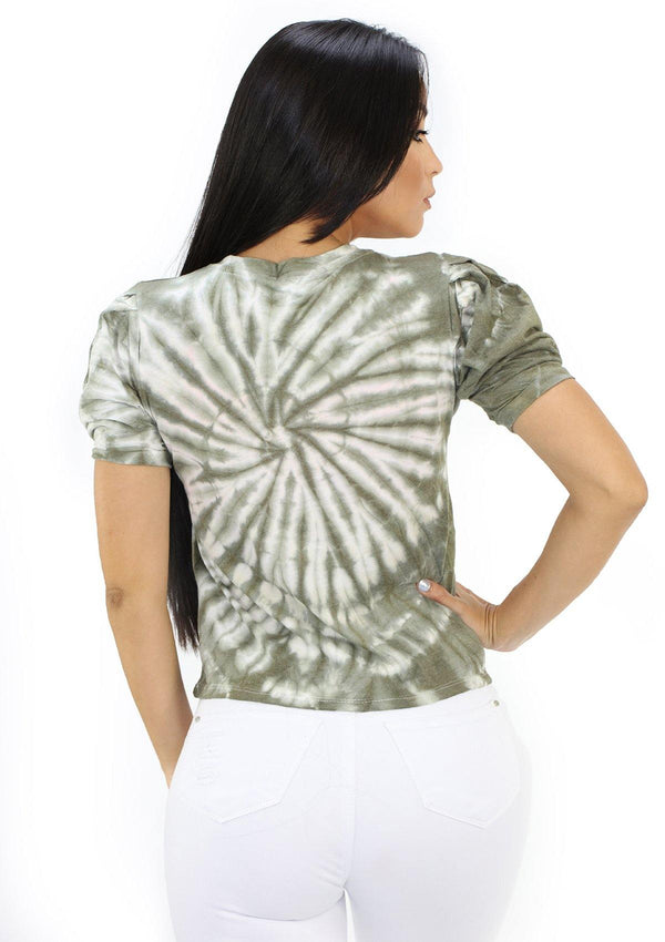 SC5236 Olive Tie Dye Blusa de Mujer by Scarcha - Pompis Stores