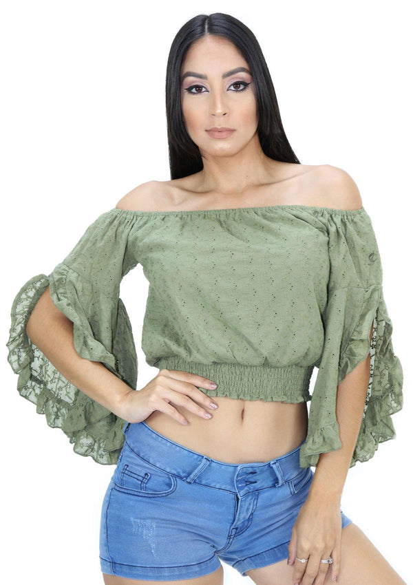 SCHYFL20F820 Olive Blusa de Mujer by Scarcha - Pompis Stores