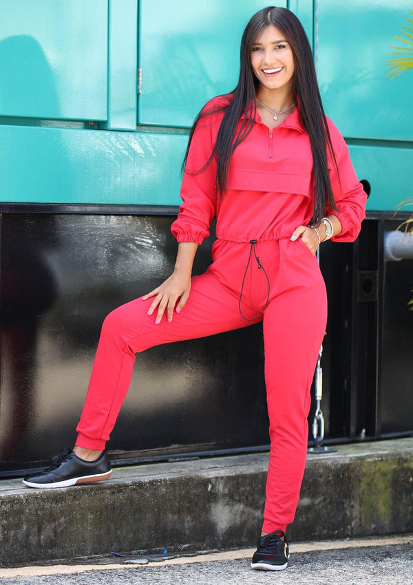 SCLD901 Red Urban Set Chaqueta y Pantalón de Mujer by Scarcha - Pompis Stores
