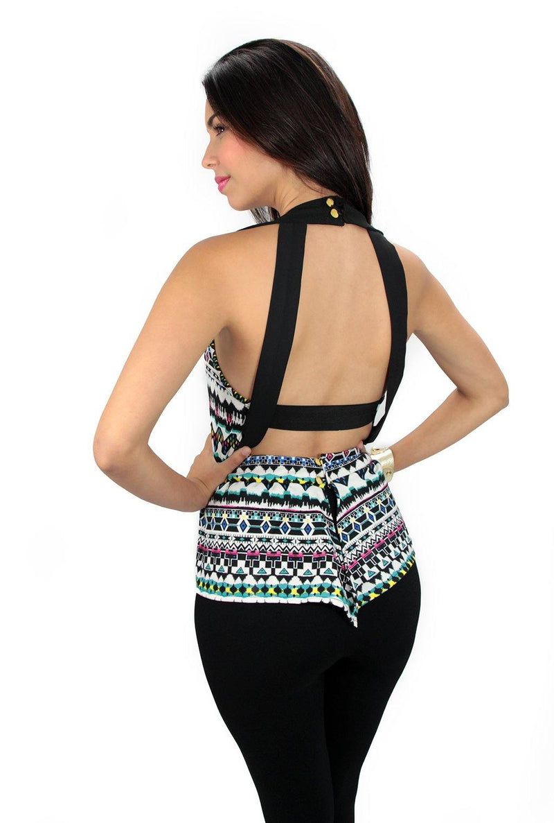 3697 Peplum Back Crop Top Trendy by Keila Hernández - Pompis Stores