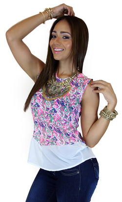 39651 Abstract Print Top Trendy by Keila Hernández