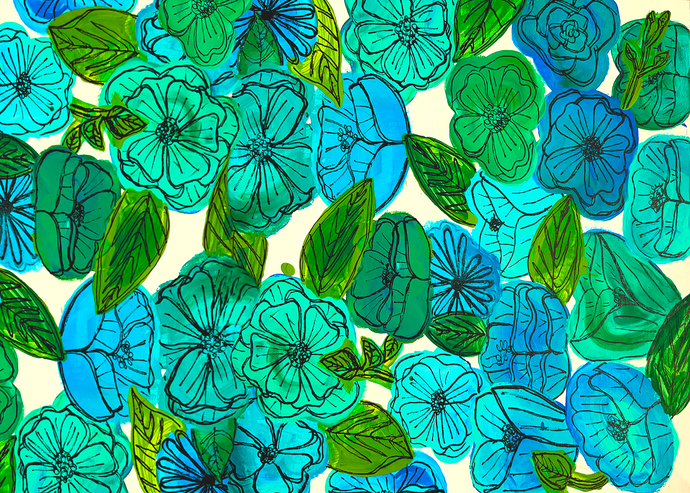 Blue and Green Florals