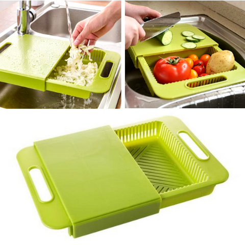 Multi Functional Over-The-Sink Cutting Board with Strainer