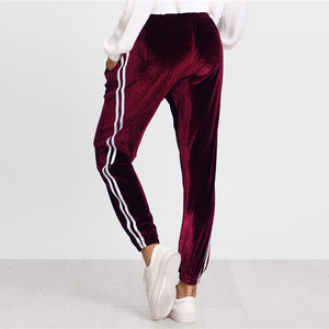 Burgundy Sweatpants Tape Side Velvet Striped Pocket