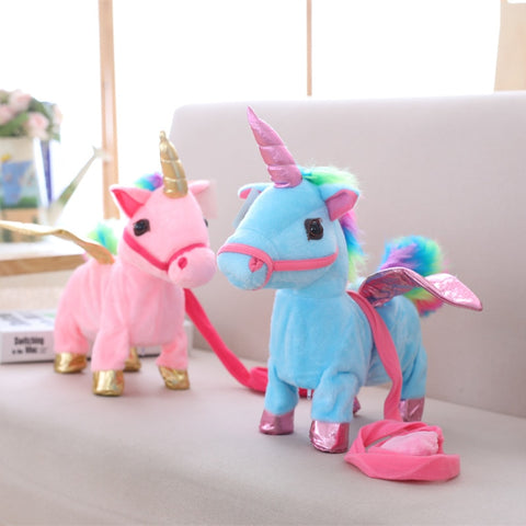 Cute Plush Pony Toys Singing Walking Musical Unicorn Soft Baby Kids Toys