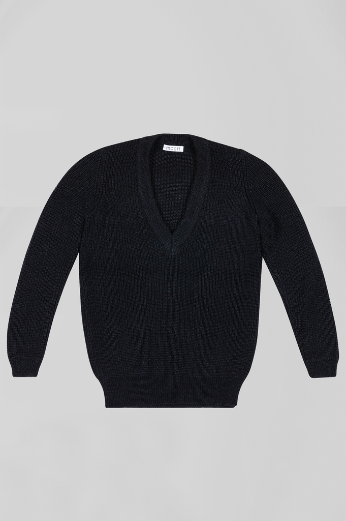 MOHAIR BOYFRIEND V NECK SWEATER