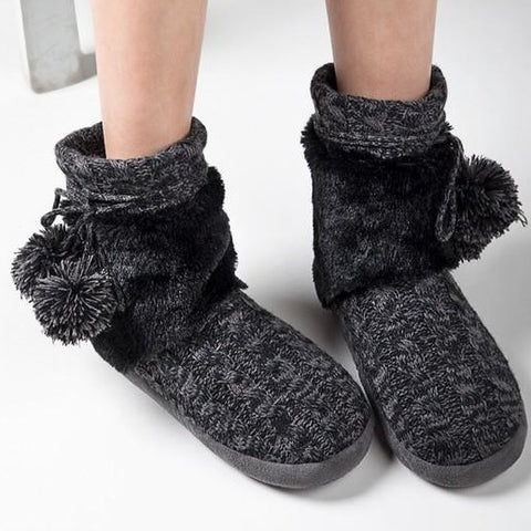 Winter Cozy Cable Knit Slippers