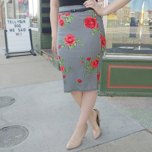 Floral and Stripe Pencil Skirt-Bottoms-Sunday Morning Boutique