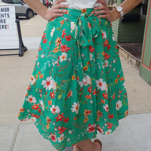 Kelly Floral Midi Skirt-Skirt-Sunday Morning Boutique