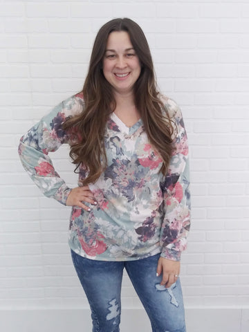 Muted Floral Long Sleeve Top
