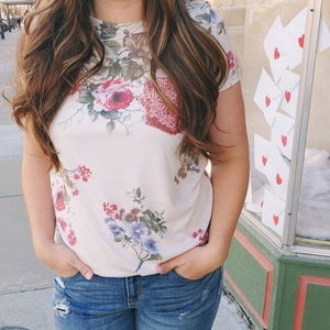 Rose Sequin Floral Top-Tops-Sunday Morning Boutique
