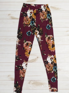 Wine Floral Leggings-Bottoms-Sunday Morning Boutique