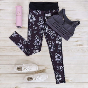 Plum Floral Leggings-Bottoms-Sunday Morning Boutique