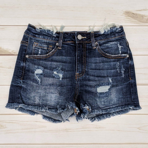Frayed Mid-Rise Distressed Shorts