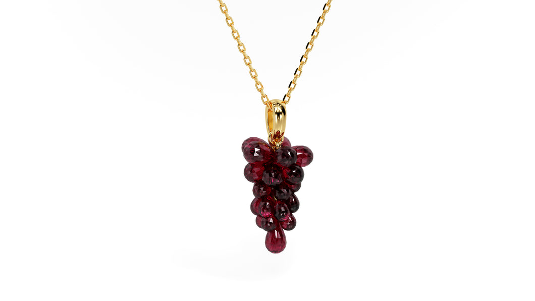 14 Karat Yellow Gold Genuine Rhodalite Garnet Cabernet Wine Necklace