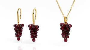14 Karat Yellow Gold Genuine Rhodalite Garnet Cabernet Wine Necklace and Earrings Matching Set