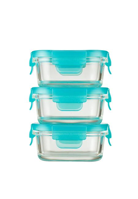 Innobaby Preppin' SMART EZ Lock Glass Container, Rectangle / 5oz (3 Pack) - Mega Babies
