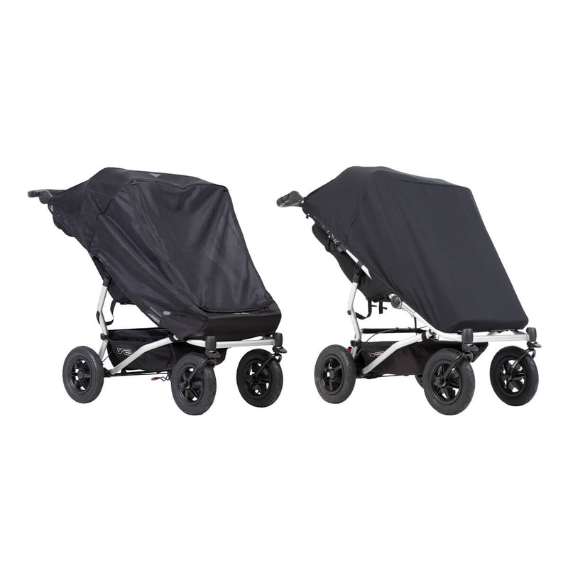 Mountain Buggy Duet Double Stroller Sun Cover Set (Black Out & Mesh Covers) - Mega Babies