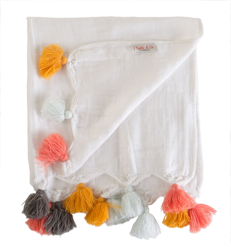 Childhome Pk of 4 Tetra Cotton Cloths With Tassel