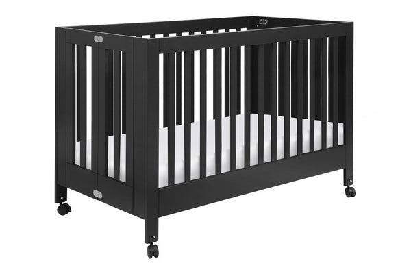 Maki Full Size Portable Folding Crib Black