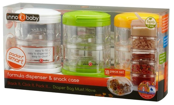 Innobaby Packin' SMART Stackables Formula Dispenser And Snack Case - 3 Pack Gift Set - Mega Babies