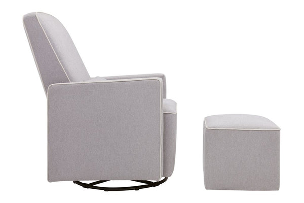 DaVinci Olive Glider and Ottoman In Grey Finish with Cream Piping - Mega Babies