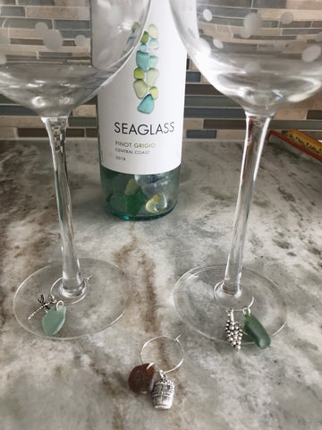 Set of 4 sea glass wine charms