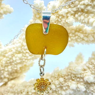 Yellow Sea glass with sterling silver sunflower charm
