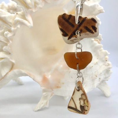 Brown sea glass and pottery necklace
