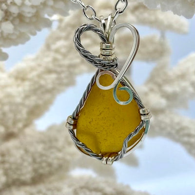 Rare Yellow Sea Glass pendant