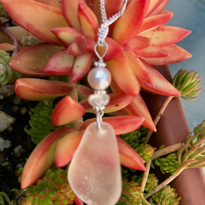 Moonstone and white Sea glass necklace