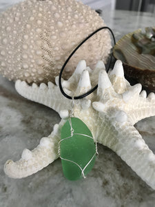Simple wrapped green sea glass necklace