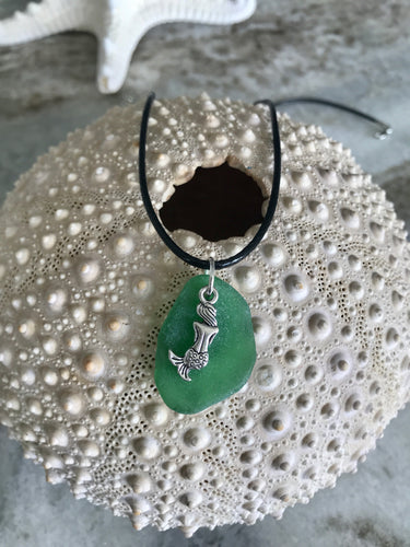 Mermaid charm and sea glass necklace