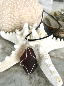 Simple wrap brown sea glass necklace