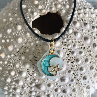 Moon charm and sea glass necklace