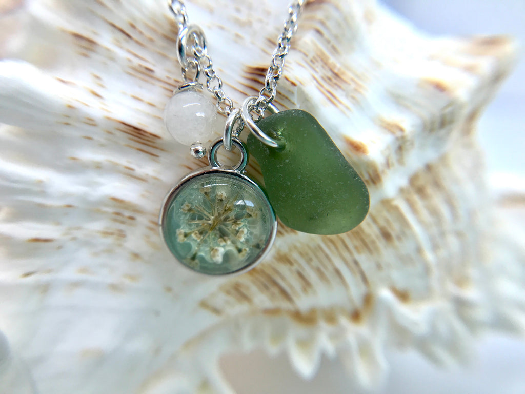 Olive green sea glass with pressed flower and moonstone necklace