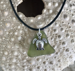 Turtle charm and sea glass necklace