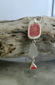 Pottery and sea glass necklace