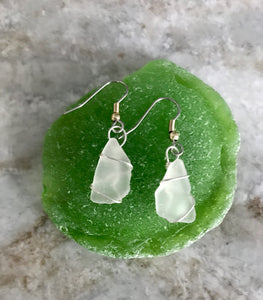 Simple wrap White Sea Glass earrings
