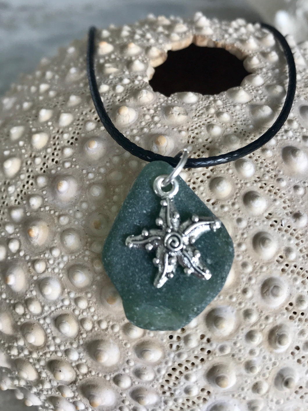 Starfish charm and sea glass necklace