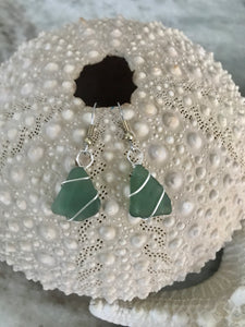 Simple wrap olive green sea glass earrings